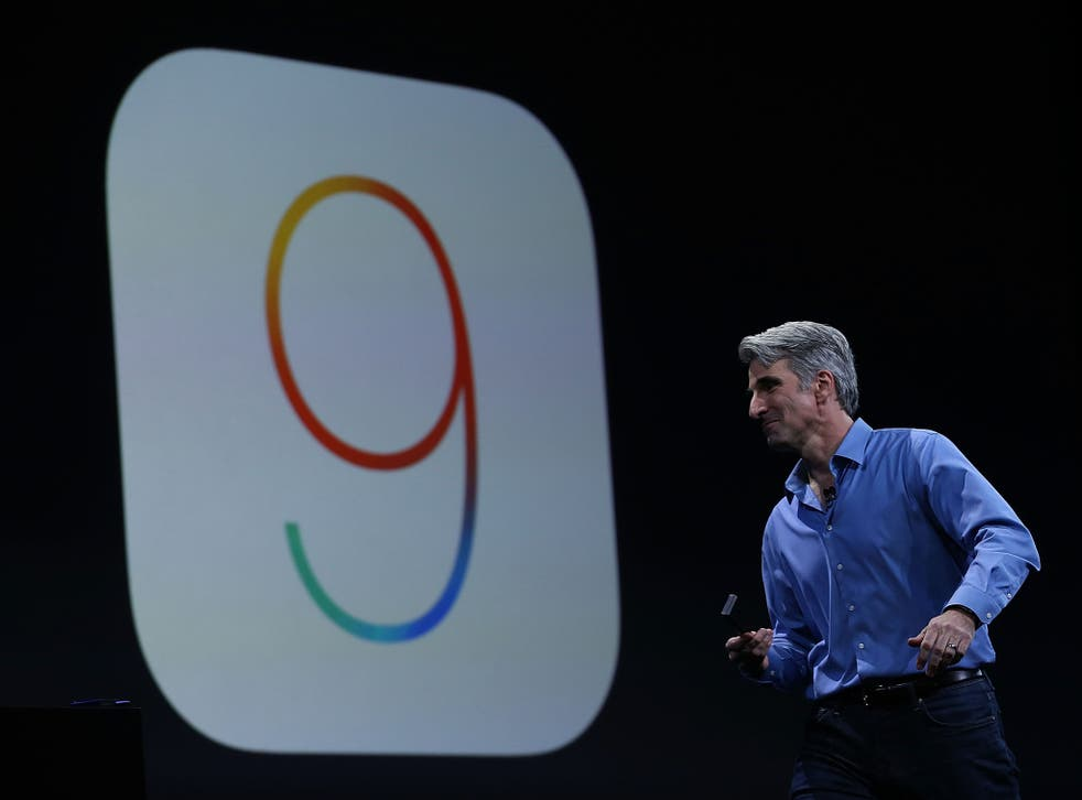Craig Federighi, Apple senior vice president of Software Engineering, speaks about iOS 9 during Apple WWDC on June 8, 2015 in San Francisco, California
