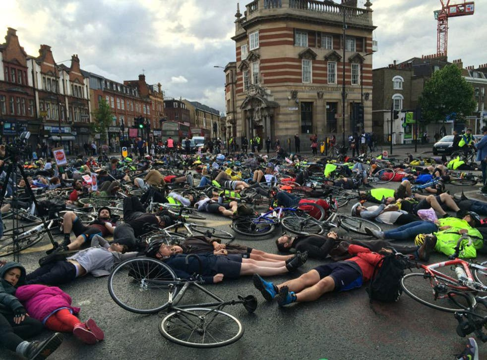 Cyclists 'die' in road to remember Esther Hartsilver