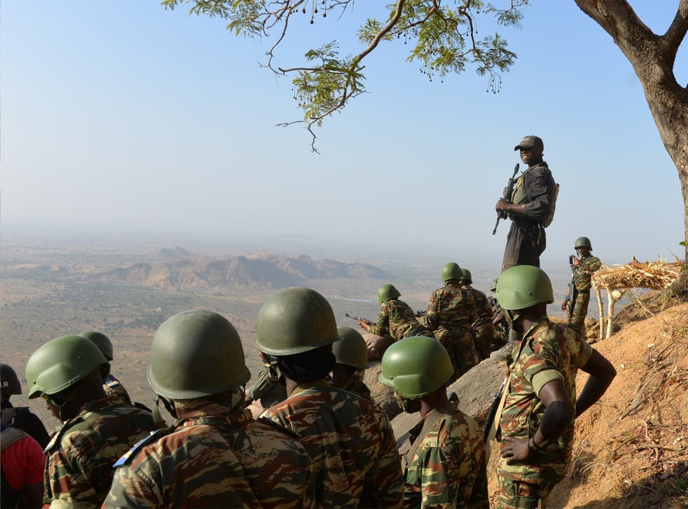 Cameroon's army forces on patrol near Mabass