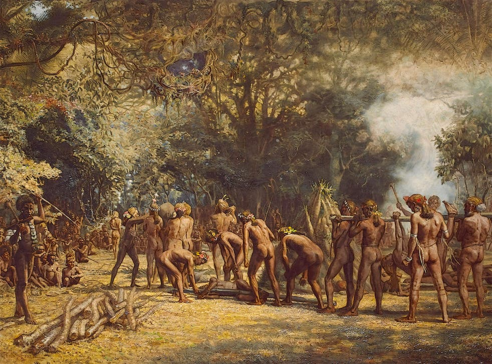 An artist's illustration of a cannibal feast in Vanuatu, in the South Pacific Ocean, about 1600 miles from Papa New Guinea