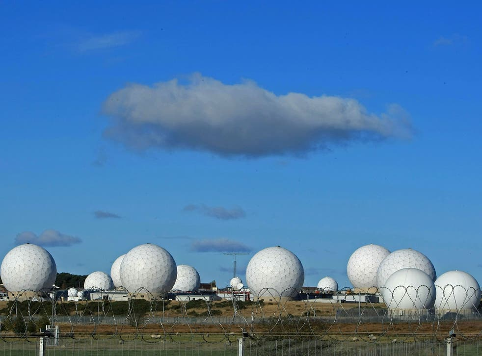 The radar domes of RAF Menwith Hill in North Yorkshire, reported to be the biggest spy base in the world