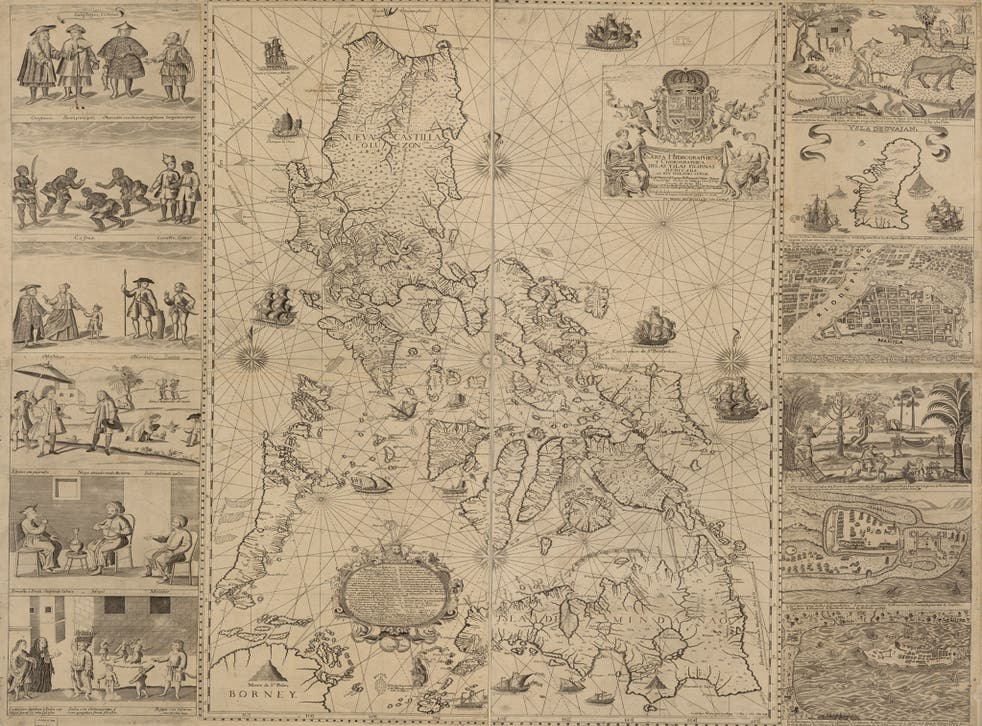 The Velarde map put up for auction at Sotherby's. The disputed area is shown in the white square