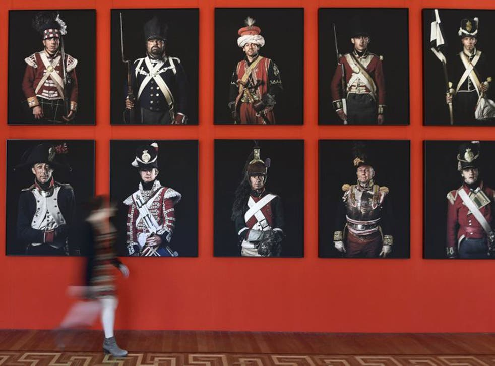 Photographs by Sam Faulkner of re-enactors in 'Unseen Waterloo' at Somerset House, London, until 31 August