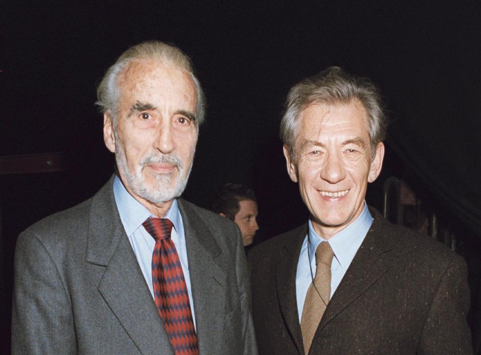Sir Christopher Lee and Sir Ian McKellen in 2001