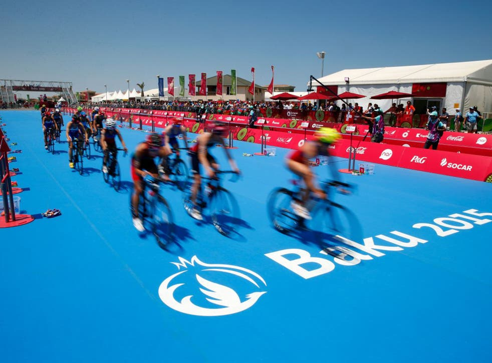 The Triathlon final on Saturday. Critics of the European Games say that Azerbaijan is using sport to improve its image