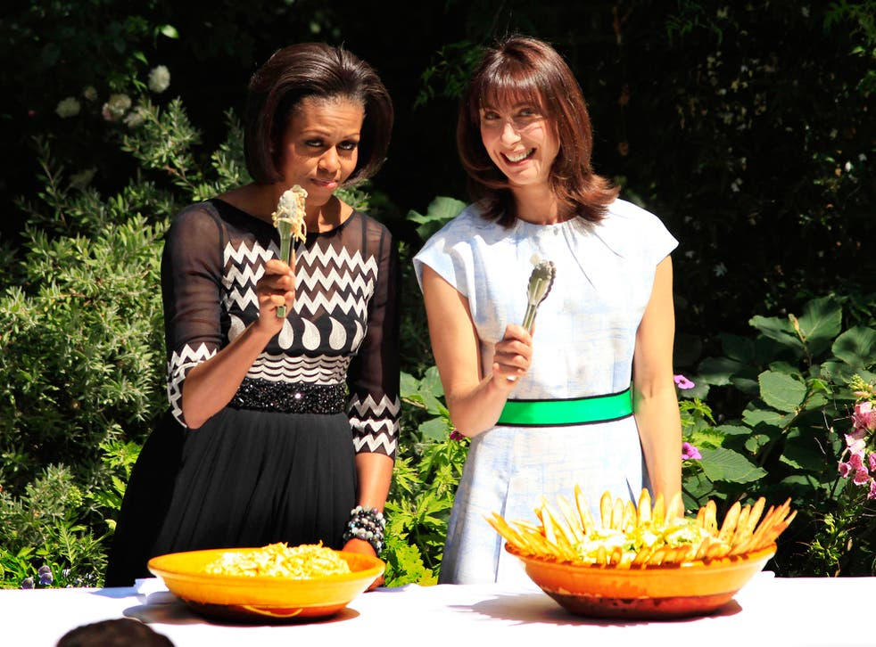 Michelle Obama and Samantha Cameron at a barbecue in the garden of 10 Downing Street in 2011