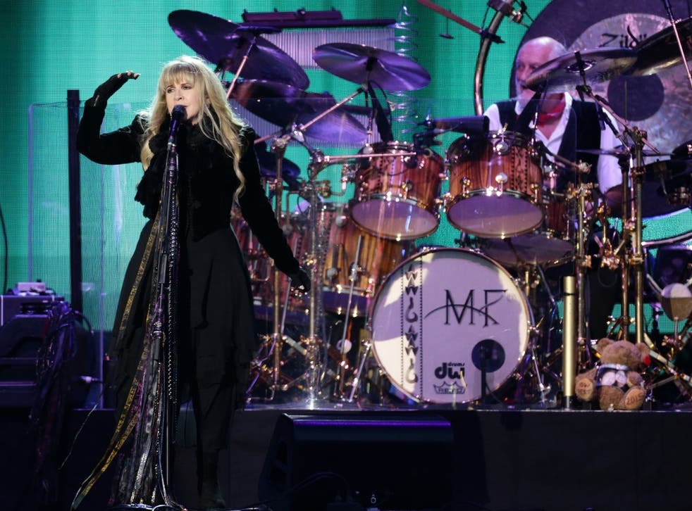 Singer Stevie Nicks and drummer Mick Fleetwood from Fleetwood Mac performs on the Main Stage at the Isle of Wight Festival