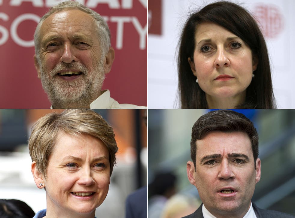 The four contenders (clockwise from top left): Jeremy Corbyn, Liz Kendall, Andy Burnham and Yvette Cooper (Rex)