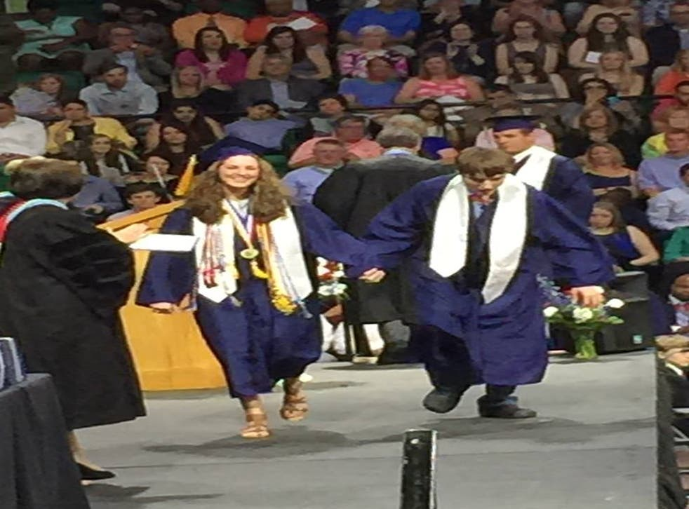 Aly and her twin, Anders, surprised family and friend and walked across the stage to rapturous applause