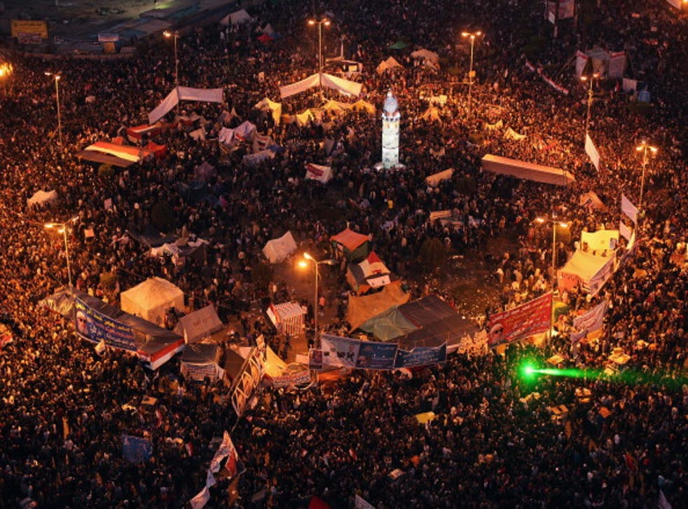 The January 25 Revolution anniversary remembers the Arab uprising of 2011in Cairo's Tahrir Square