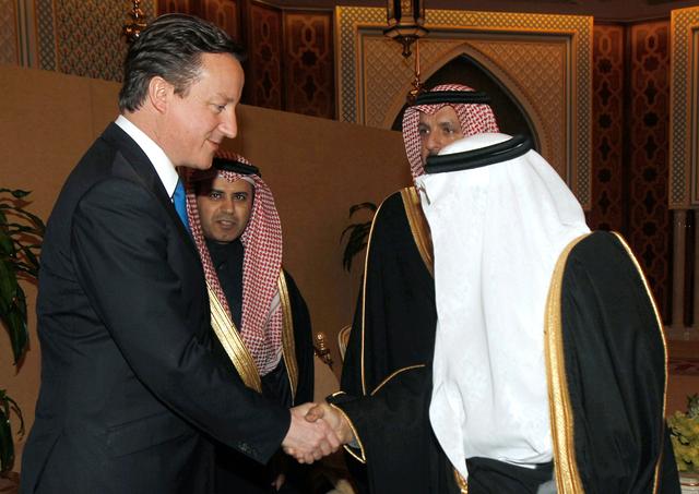Saudi's Prince Nayef bin Abdul Aziz al-Saud welcomes David Cameron in 2012