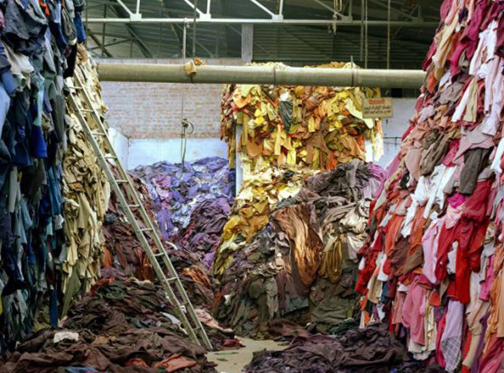 No sweat: clothes are piled up in a warehouse in India