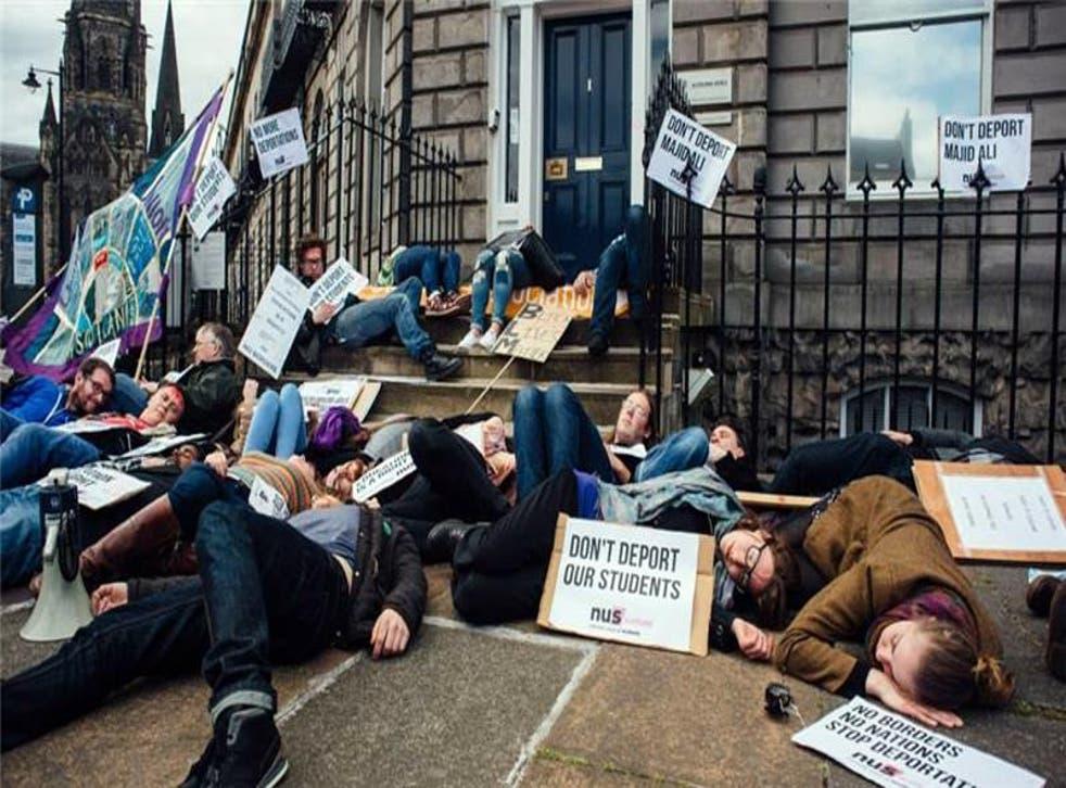 Students protest the deportation in Edinburgh