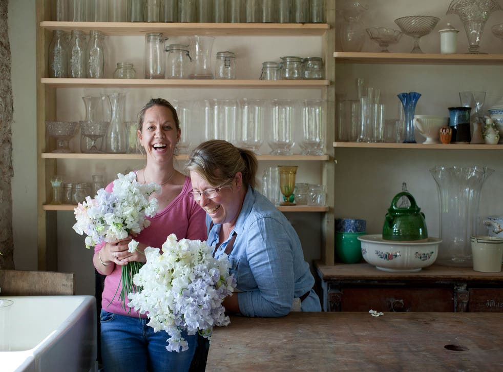 Georgie Newbery (right) with Sharon at her studio in Somerset