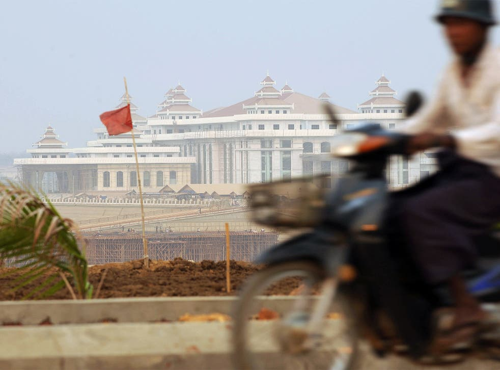 A view from the highways of Naypyidaw, with the new parliament building in the background
