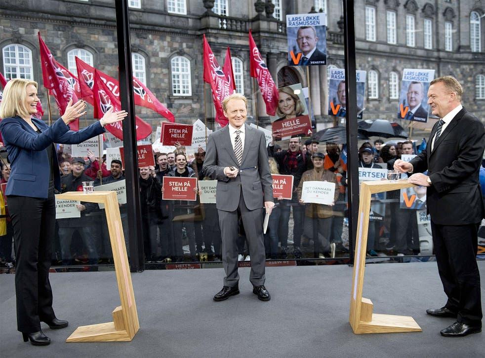 Helle Thorning-Schmidt and Lars Lokke Rasmussen at an election campaign debate in Copenhagen