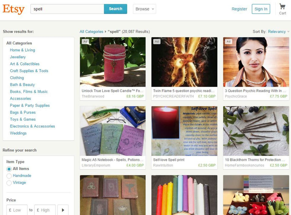 Etsy became popular with supernatural sellers after eBay banned spells and other metaphysical products in 2012