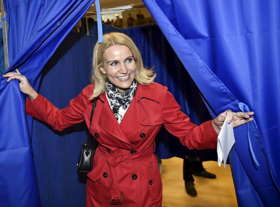 Helle Thorning-Schmidt casting her vote on Thursday