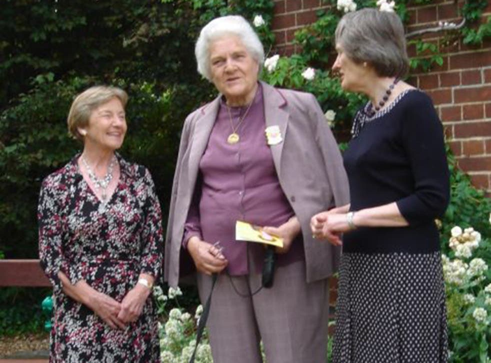 Warburton, centre, with Baroness Perry, left, her successor as President of Lucy Cavendish College, and Janet Todd, the current President