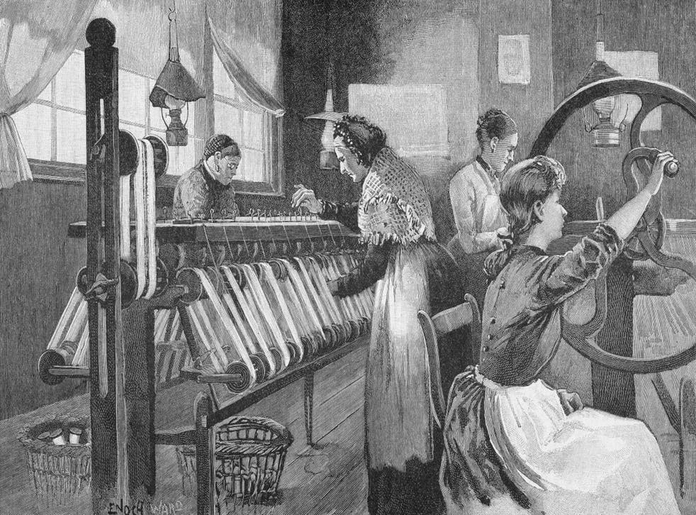Good yarn: female silk weavers at work in Spitalfields in 1893. The industry in east London was founded by Huguenot refugees