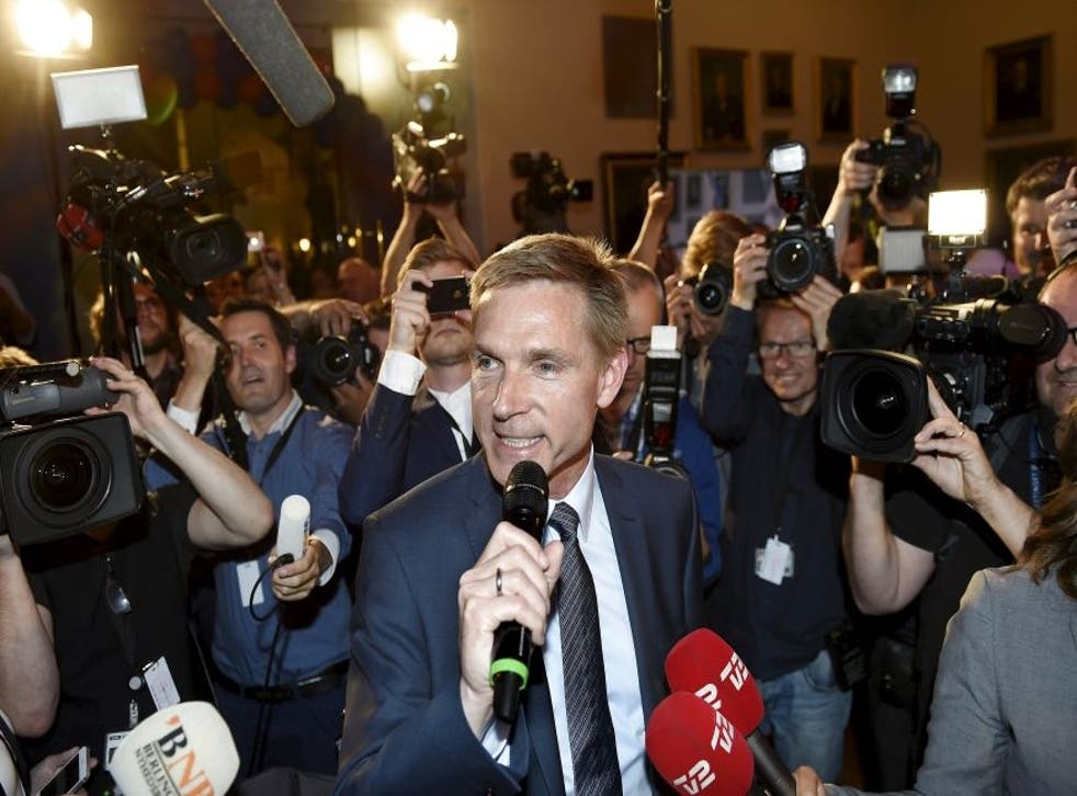Danish People's Party (DF) leader Kristian Thulesen Dahl speaks to the press after election results in Copenhagen, Denmark