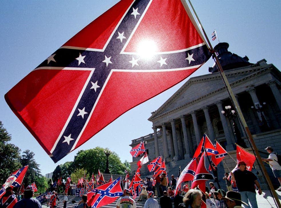 Confederate flag supporters protest its removal from South Carolina's capitol building in 2000