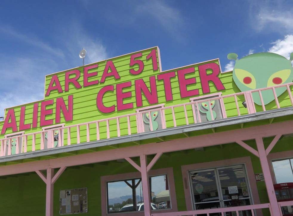 A souvenir shop that houses a brothel in an annex beckons visitors near a junction that leads to Area 51 on July 19, 2014 at Amergosa Valley, Nevada. Area 51 is another name for a portion of Edwards Air Force Base that UFO enthusiasts have theorized conta