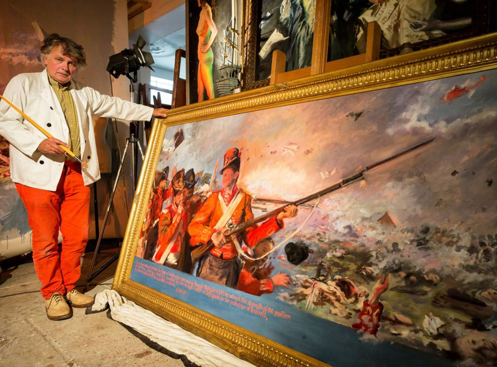Howard Morgan in his studio, with his official painting for the 200th anniversary of the battle of Waterloo