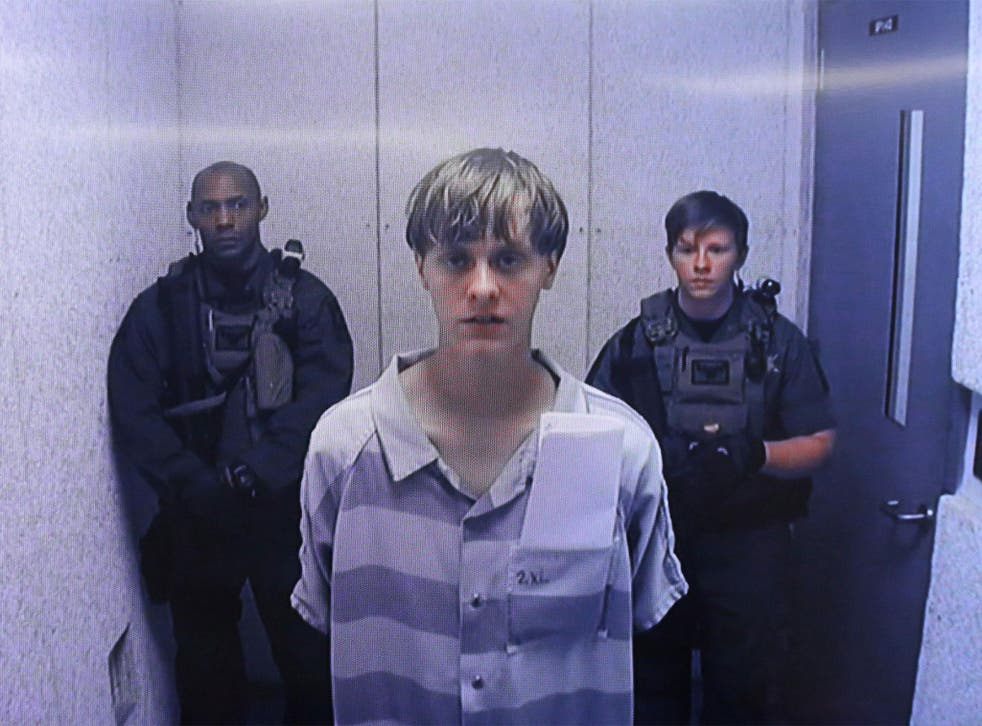 Dylann Roof appearing by videolink in court