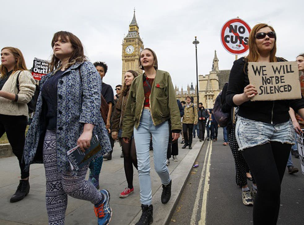 anti-austerity protesters at an earlier march against government policies