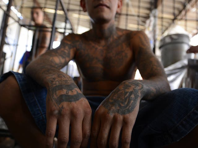 A member of Mara Salvatrucha (MS-13) in El Salvador; members of the group are now operating in Milan