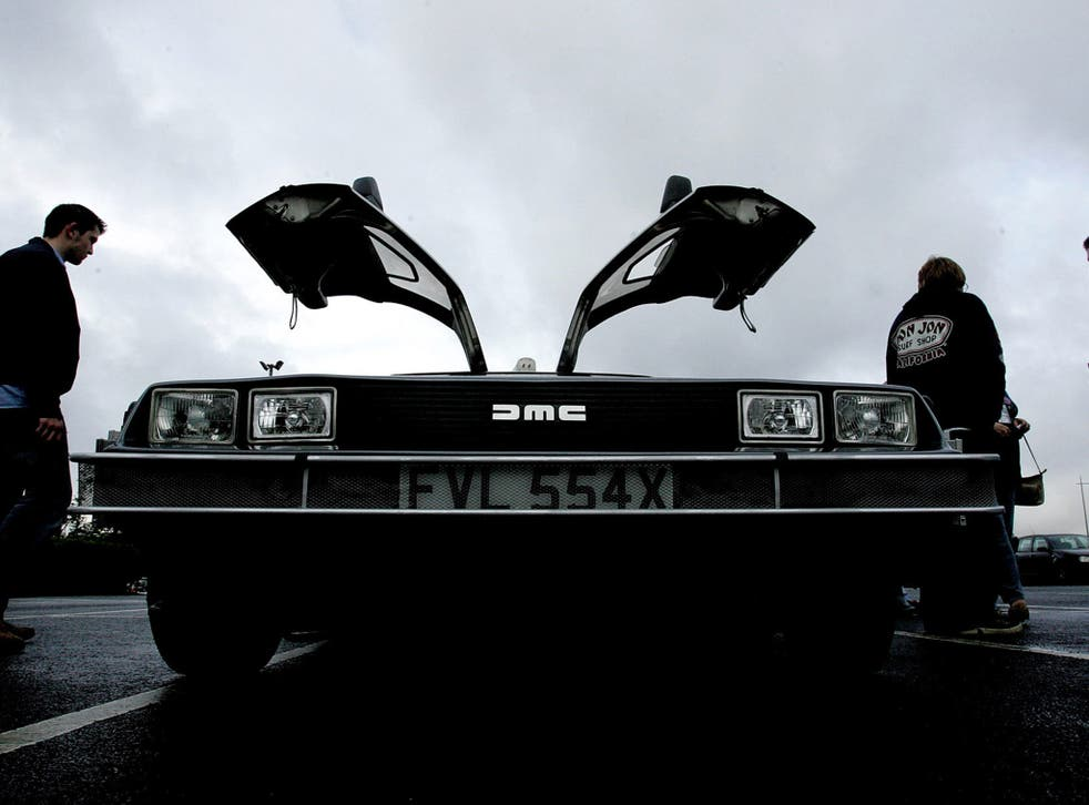 Wing men: anticipating a summer of DeLorean events, enthusiasts inspect a model in Belfast, where the sports car was built