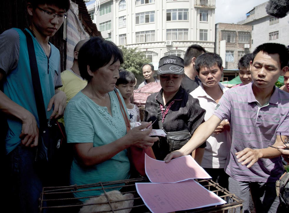 Yang Xiaoyun purchased the dogs on Saturday to save them from slaughter