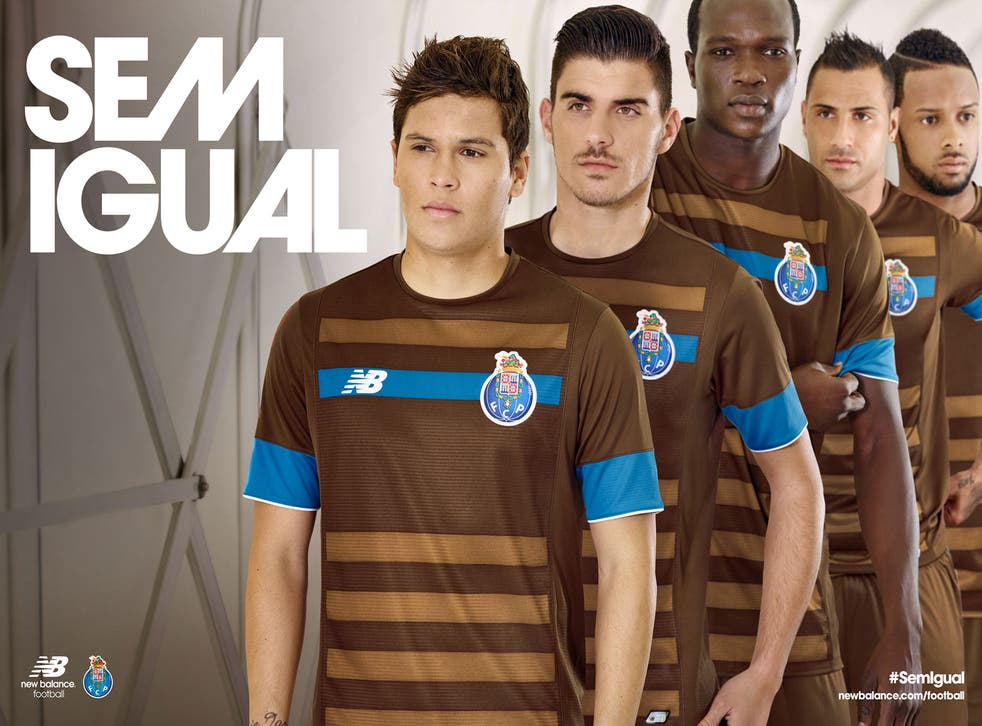 Members of the Porto team show off the new away kit