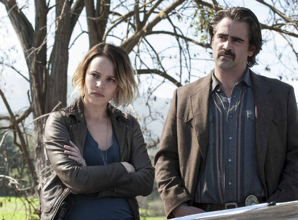 Suspicious minds: Rachel McAdams and Colin Farrell star in 'True Detective'