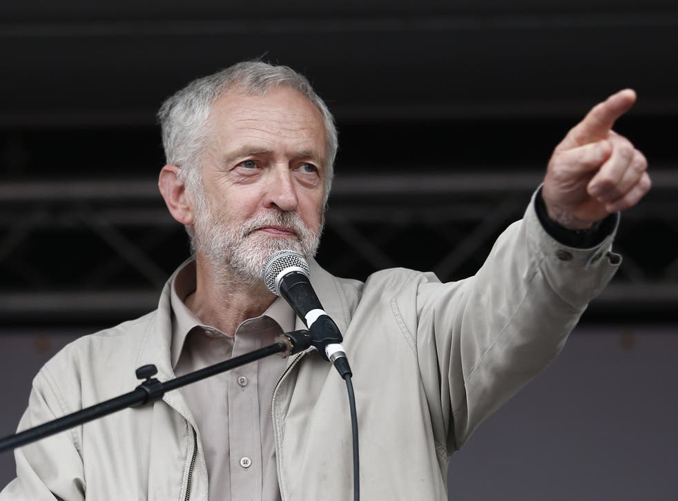 Labour MP Jeremy Corbyn speaking to protesters at the anti-austerity march in London