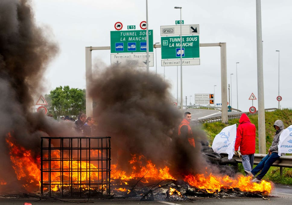 Eurotunnel And Ferry Services Suspended As Striking French Workers