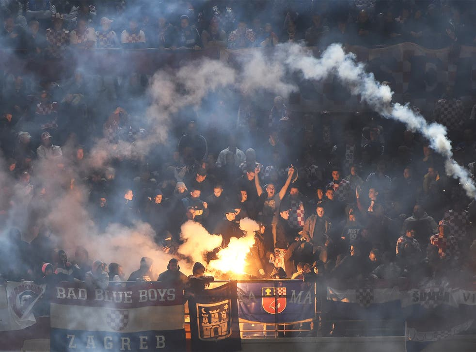 Croatia's supporters throw flares during the Euro 2016 qualifying football match against Italy. File photo
