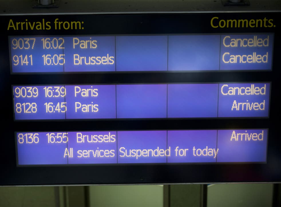 An information board at St. Pancras station shows cancelled Eurostar services