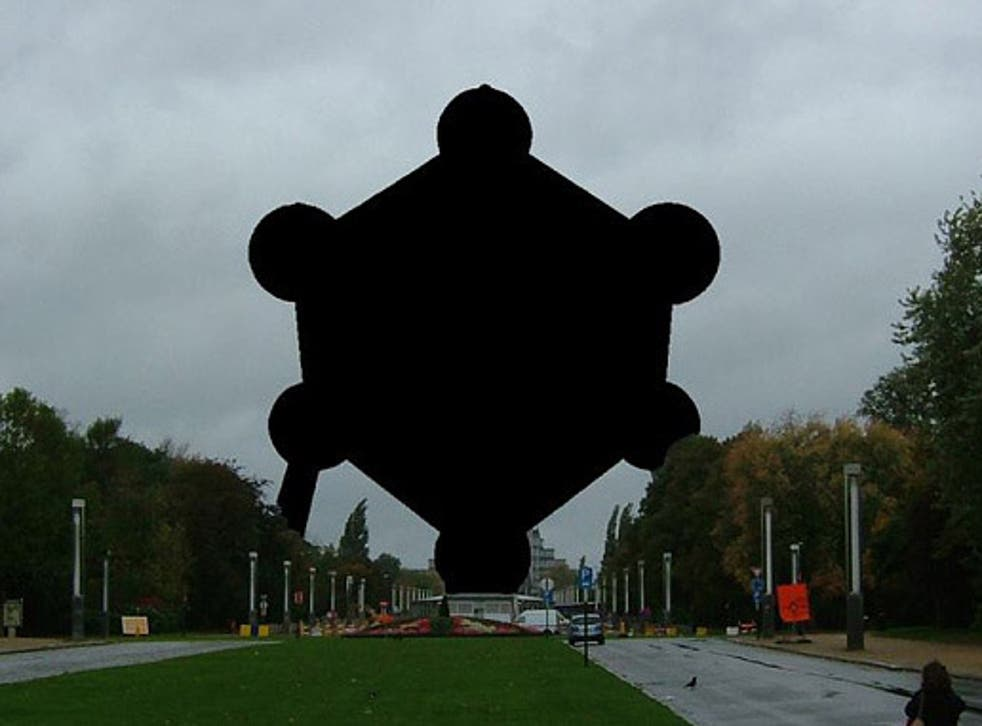 Censored: The Automium monument is blacked-out because there is no 'freedom of panorama' in Belgium