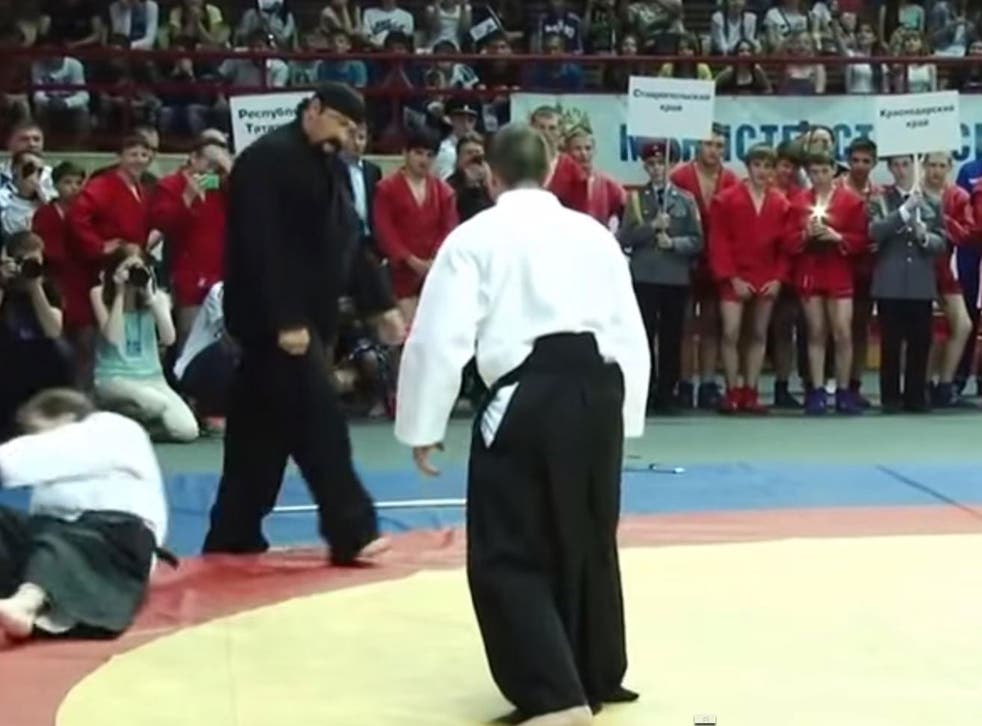 Saegal was filmed throwing his opponents to the floor
