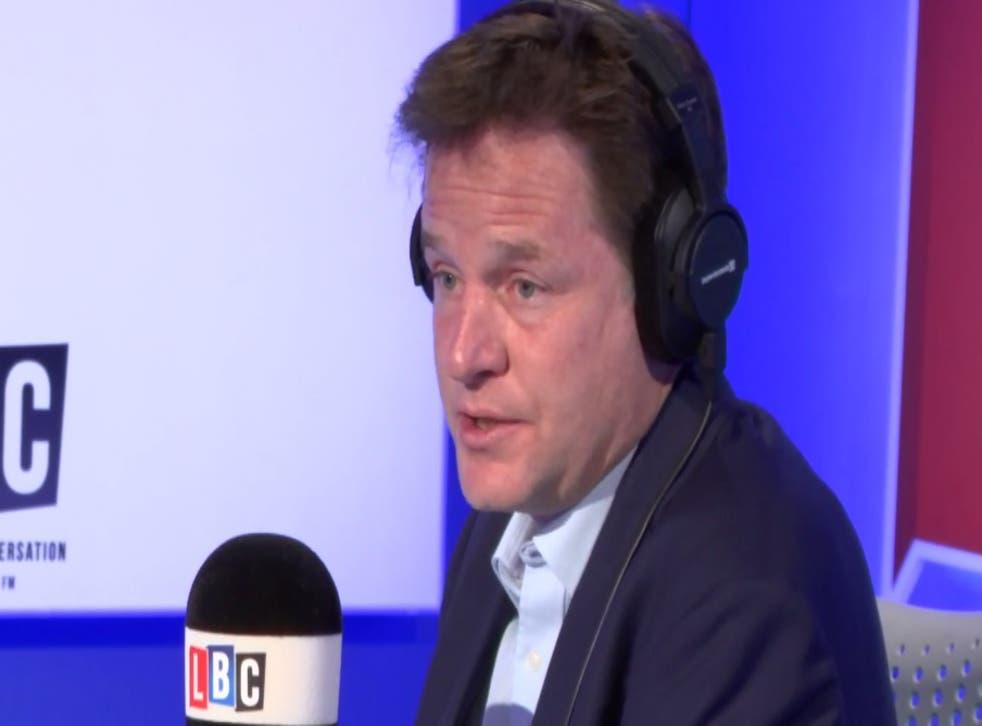 Nick Clegg appears on LBC Radio