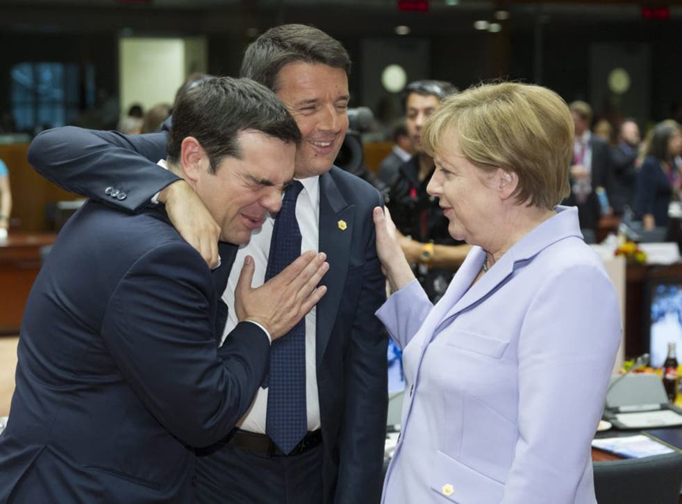 Greek Prime Minister Alexis Tsipras, Italian Prime Minister Matteo Renzi and German Chancellor Angela Merkel during one of the summit meetings in Brussels on Thursday (EPA)