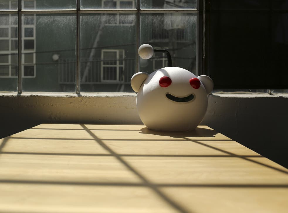 A Reddit mascot is shown at the company's headquarters in San Francisco, California April 15, 2014