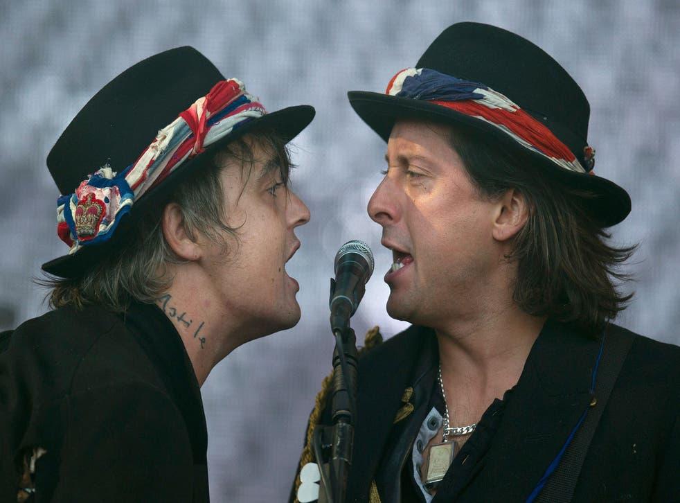 Pete Doherty and Carl Barat perform at Glastonbury 2015