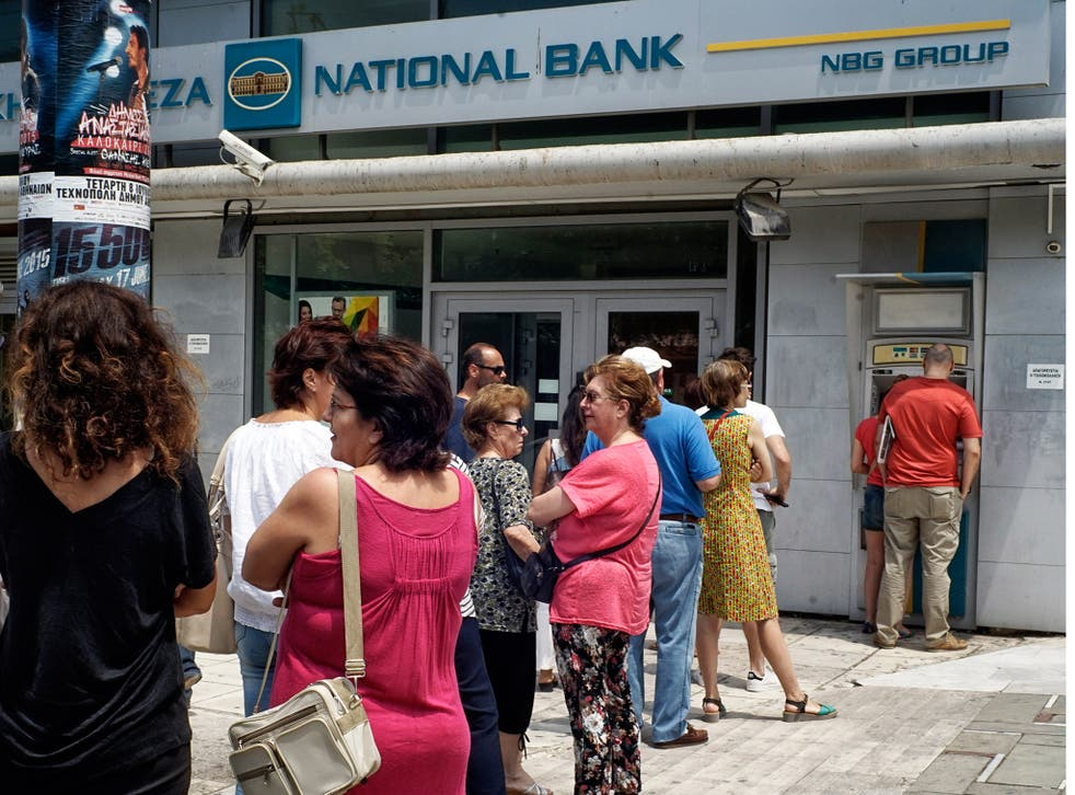Greeks have been queuing to withdraw cash from their banks over the weekend following the announcement of a referendum on EU bailout terms
