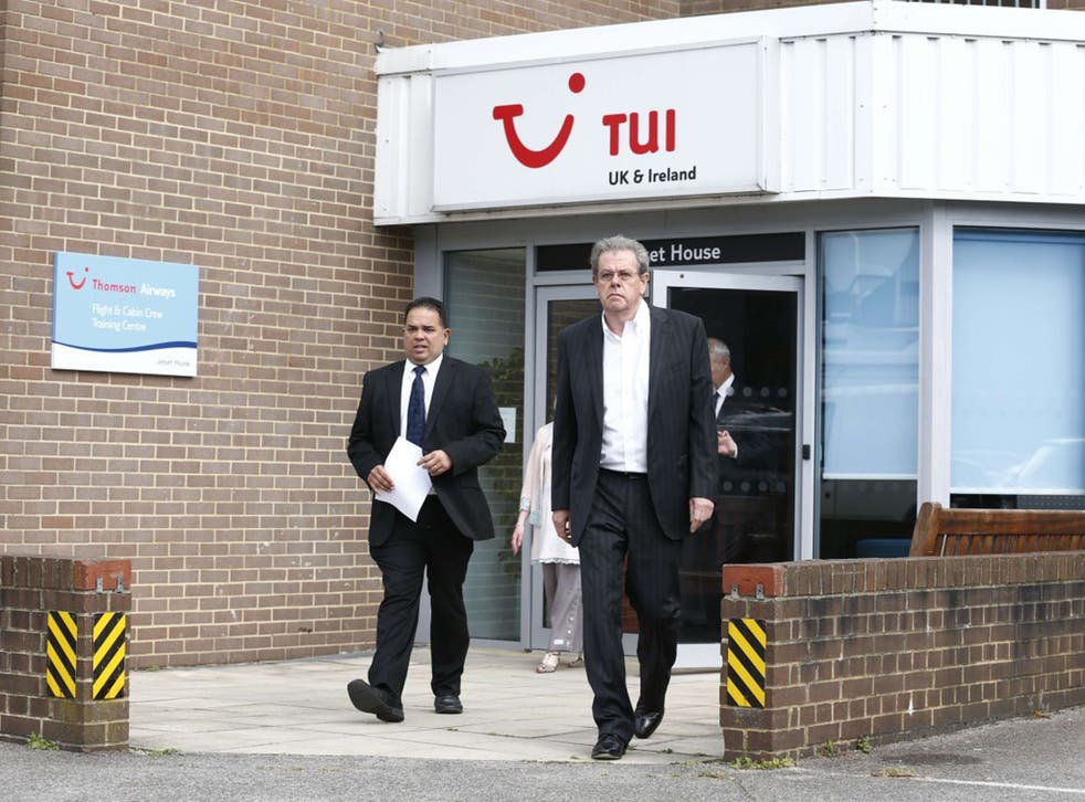Peter Long, left, joint chief executive of the TUI Group, and Nick Longman, managing director of the TUI Group made a statement to the media on Saturday