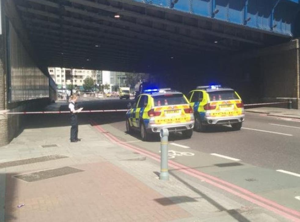 Police at the scene of the accident this morning