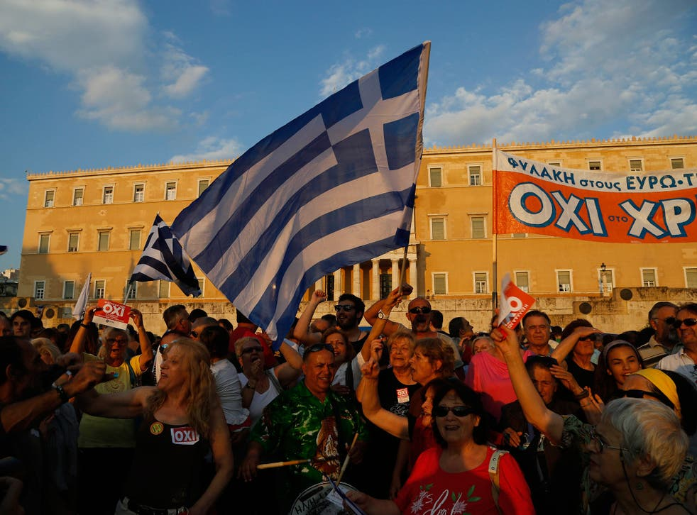 Supporters of a No vote in the upcoming referendum at a rally at Syntagma Square, Athens