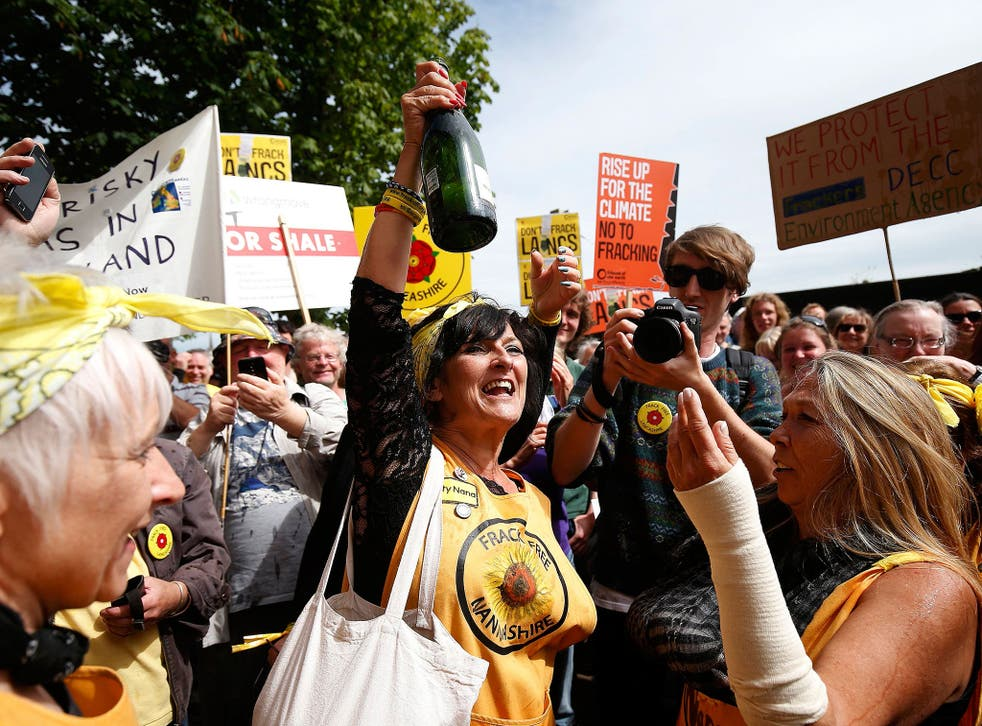 Protesters celebrate victory in Lancashire